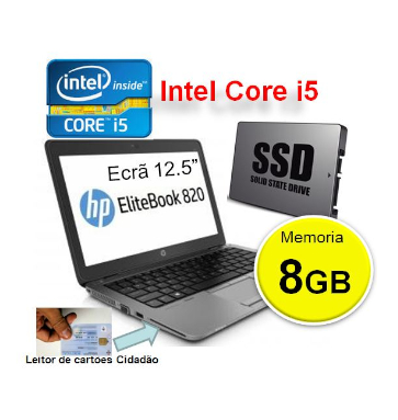 Portátil HP EliteBook 820 G1 | INTEL i5 4310 | 8GB | SSD 128GB | Ecrã 12.5″