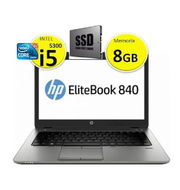 Portátil HP EliteBook 840 G2 | Intel i5 5300 | Memoria 8GB | Disco SSD 128 GB | Ecrã 14p