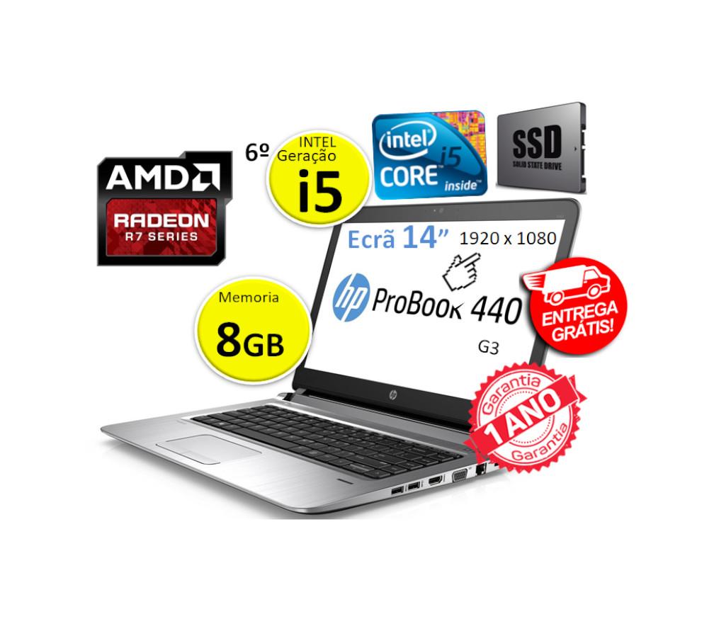 Portátil HP ProBook 440 G3  | Intel i5  6200 | Memoria 8GB | Disco SSD 120 GB | Ecrã 14p 1920 x 1080 |Gráfica dedicada 2GB