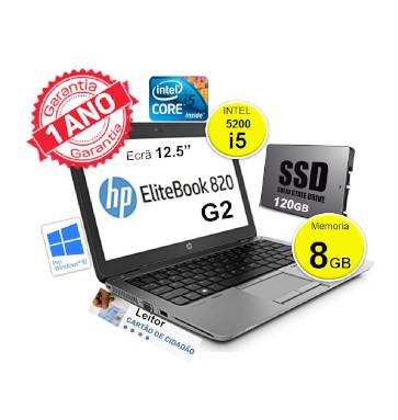 Portátil HP EliteBook 820 G2 | INTEL i5 5200 | 8GB | SSD 120GB | Ecrã 12.5″ | Leitor de cartões cidadão