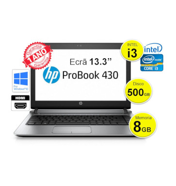 HP ProBook 430 | CPU Intel I3 | Ram 8GB | Disco 500GB | Ecrã 13.3p