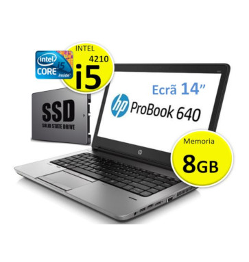 HP Probook 640 G2 | Intel i5 4 Geração | Ram 8GB | SSD  240GB | Ecrã 14p | Leitor cartão cidadão