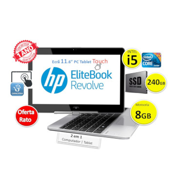 HP EliteBook Revolve 2 em 1 | Intel Core i5  | Ram 8GB |  SSD  240GB | Ecrã 11.6 Touch | Win 10